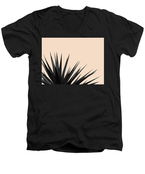 Black Palms On Pale Pink Men's V-Neck T-Shirt