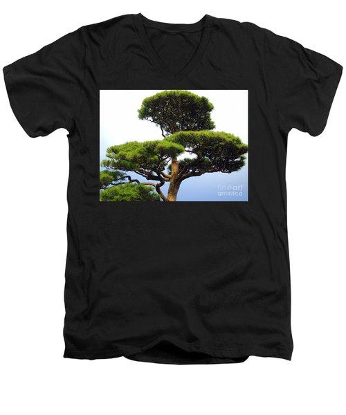 Black Pine Japan Men's V-Neck T-Shirt by Susan Lafleur