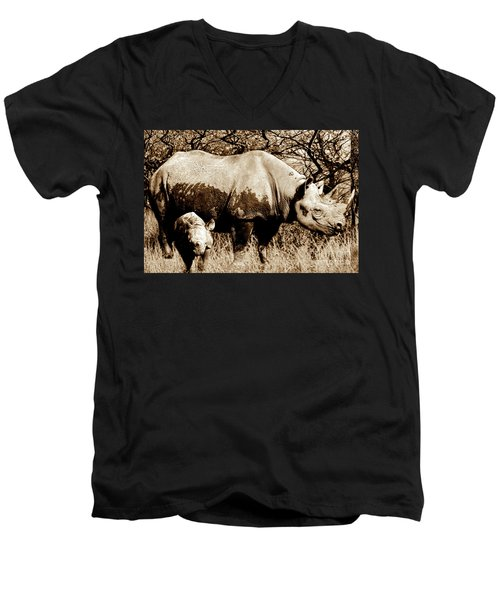 Black Rhino And Youngster Men's V-Neck T-Shirt