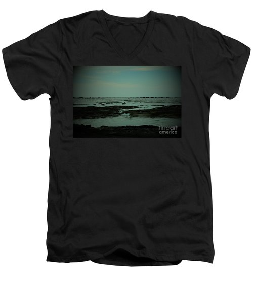Black Rock Beach Men's V-Neck T-Shirt by Mini Arora