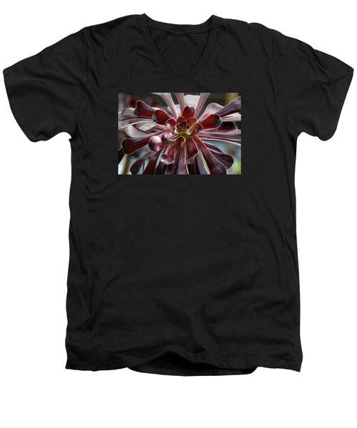 Black Rose Men's V-Neck T-Shirt by Deborah  Crew-Johnson