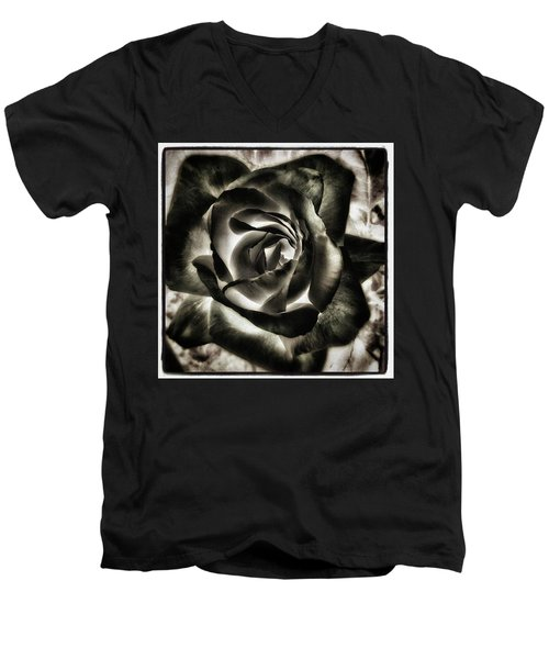 Men's V-Neck T-Shirt featuring the photograph Black Rose. Symbol Of Farewells by Mr Photojimsf