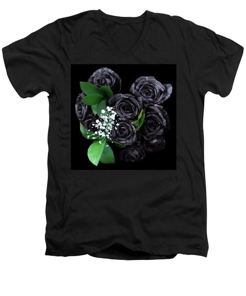 Black Roses Bouquet Men's V-Neck T-Shirt