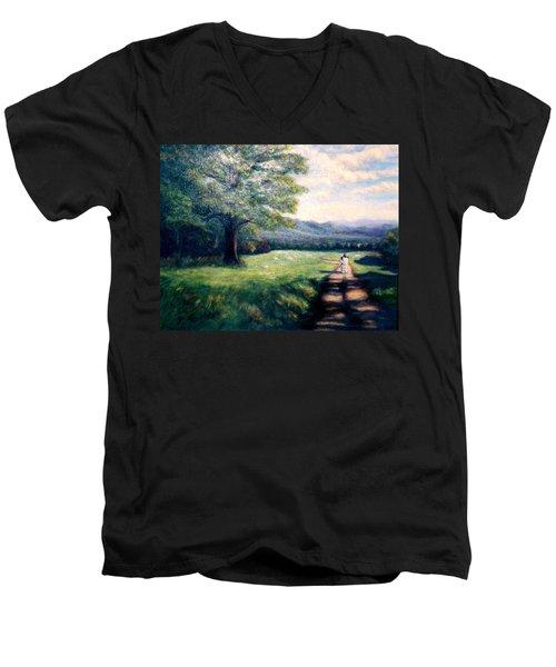 Men's V-Neck T-Shirt featuring the painting Black Sheep by Gail Kirtz
