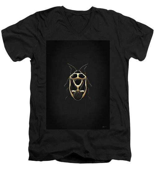 Black Shieldbug With Gold Accents  Men's V-Neck T-Shirt by Serge Averbukh