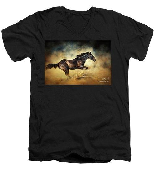 Black Stallion Horse Galloping Like A Devil Men's V-Neck T-Shirt