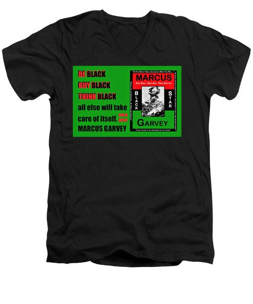 Black Star Garvey Men's V-Neck T-Shirt