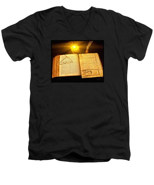 Men's V-Neck T-Shirt featuring the painting Black Sunday by Mark Allen