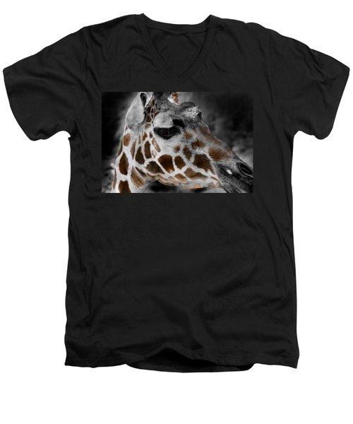 Black  White And Color Giraffe Men's V-Neck T-Shirt