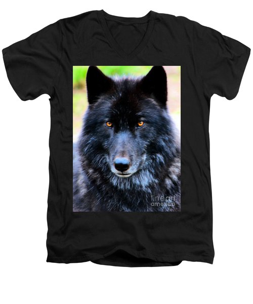 Black Wolf Men's V-Neck T-Shirt