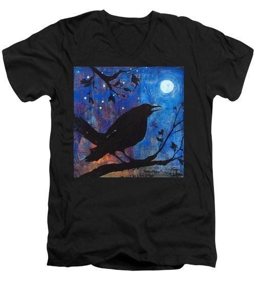 Blackbird Singing Men's V-Neck T-Shirt by Robin Maria Pedrero
