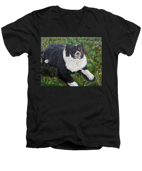 Men's V-Neck T-Shirt featuring the painting Blackie by Marilyn  McNish