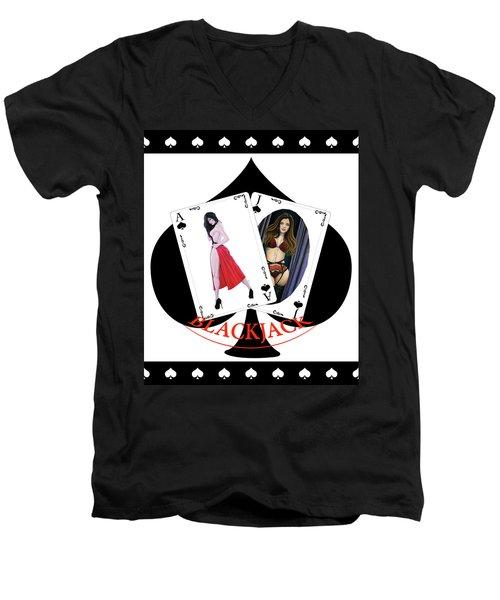 Black Jack Spades Men's V-Neck T-Shirt by Joseph Ogle