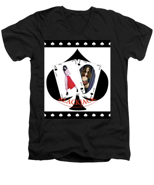 Black Jack Spades Men's V-Neck T-Shirt