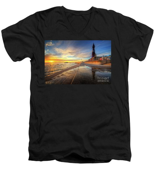 Men's V-Neck T-Shirt featuring the photograph Blackpool Sunset by Yhun Suarez