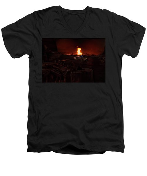 Men's V-Neck T-Shirt featuring the digital art Blacksmith Shop by Chris Flees