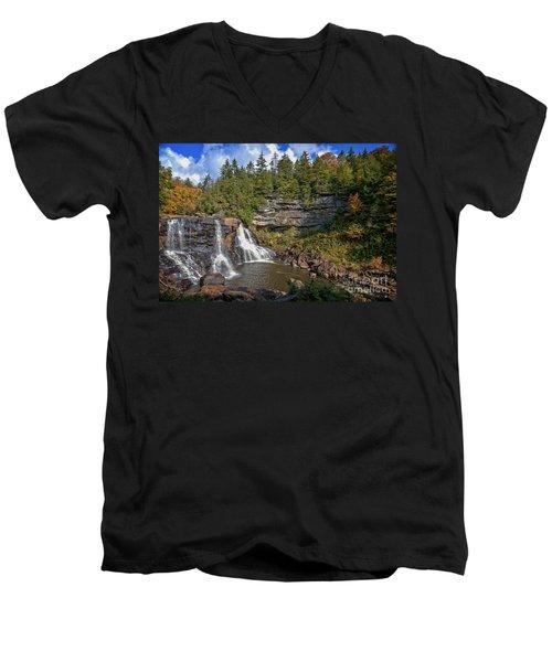 Blackwater Falls  In Autumn 3879c Men's V-Neck T-Shirt