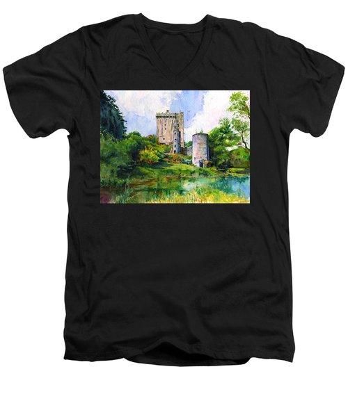 Blarney Castle Landscape Men's V-Neck T-Shirt by John D Benson