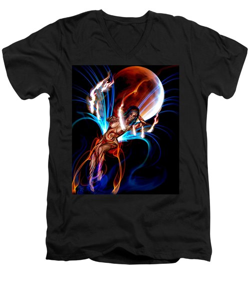 Blazing Eclipse Men's V-Neck T-Shirt by Glenn Feron