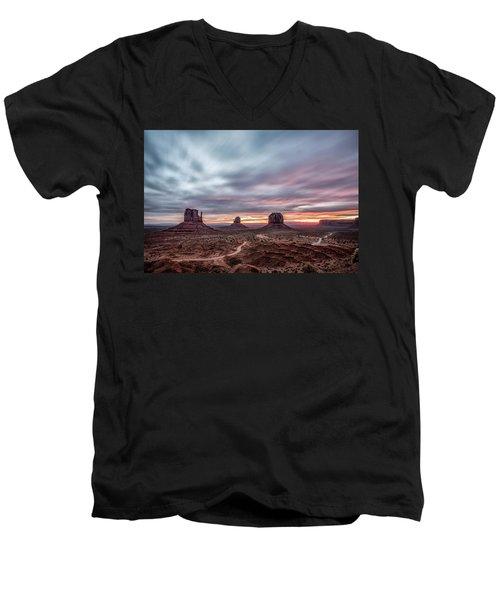Blended Colors Over The Valley Men's V-Neck T-Shirt by Jon Glaser