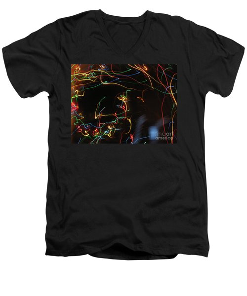 Men's V-Neck T-Shirt featuring the photograph Blizzard Of Colorful Lights. Dancing Lights Series by Ausra Huntington nee Paulauskaite