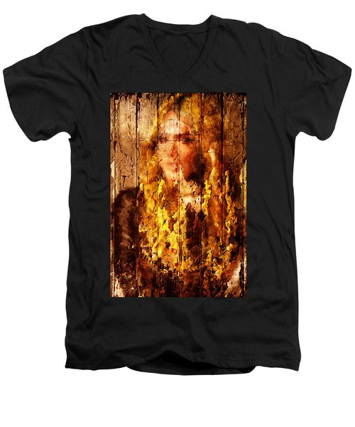 Blond Wood Inlay Men's V-Neck T-Shirt by Andrea Barbieri