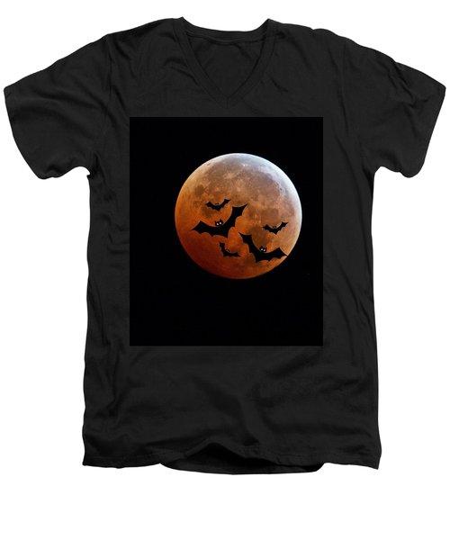 Blood Full Moon And Bats Men's V-Neck T-Shirt