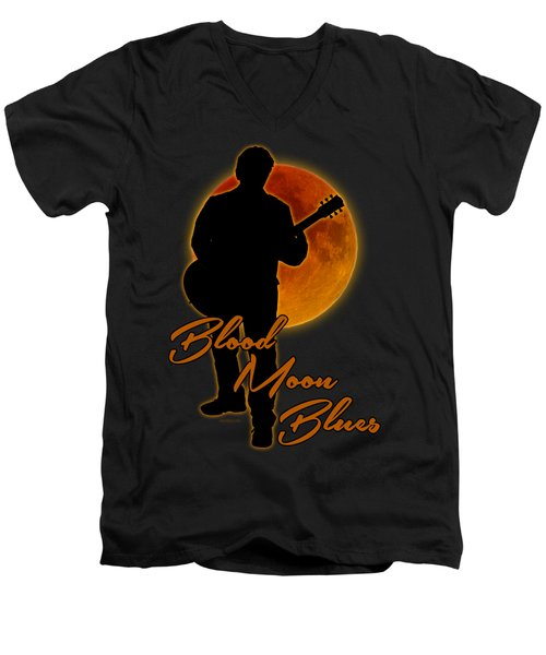 Blood Moon Blues T Shirt Men's V-Neck T-Shirt by WB Johnston