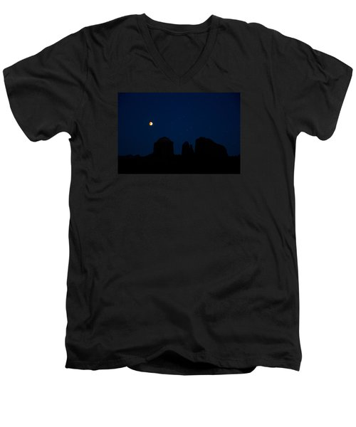 Blood Moon Over Cathedral Men's V-Neck T-Shirt by Tom Kelly