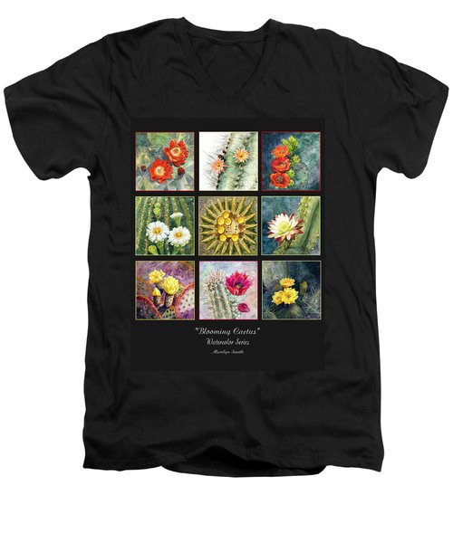 Men's V-Neck T-Shirt featuring the painting Blooming Cactus by Marilyn Smith
