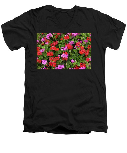 Blooming Flowers Background Men's V-Neck T-Shirt by Hans Engbers