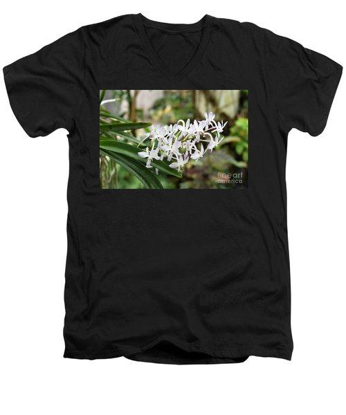 Blooming White Flower Spike Men's V-Neck T-Shirt