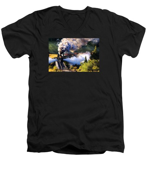 Men's V-Neck T-Shirt featuring the photograph Blowdown On Lobato Trestle by Ken Smith