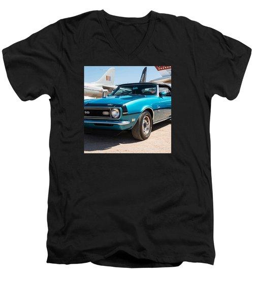 Blue 350 Chevy Camaro Ss Men's V-Neck T-Shirt