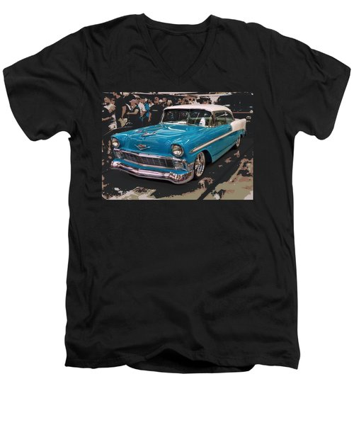 Men's V-Neck T-Shirt featuring the photograph Blue '56 by Victor Montgomery
