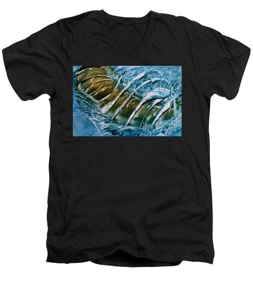 Blue Abstract Dark Ribbon Centre Men's V-Neck T-Shirt