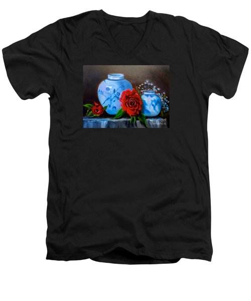 Men's V-Neck T-Shirt featuring the painting Blue And White Pottery And Red Roses by Jenny Lee