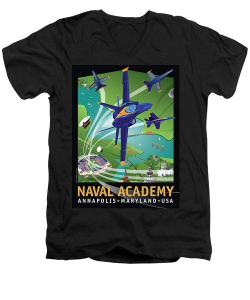 Blue Angels Over Usna Men's V-Neck T-Shirt