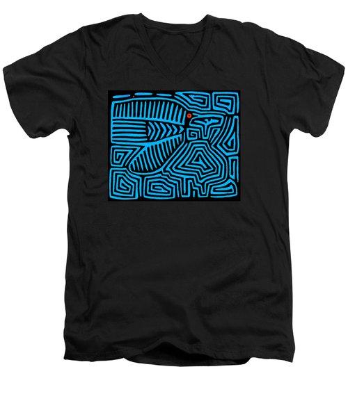 Men's V-Neck T-Shirt featuring the digital art Blue Bird Mola by Vagabond Folk Art - Virginia Vivier