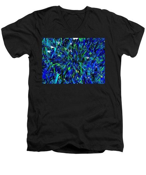 Blue Blades Of Grass Men's V-Neck T-Shirt