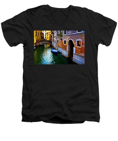 Blue Boat At Twilight Men's V-Neck T-Shirt by Harry Spitz