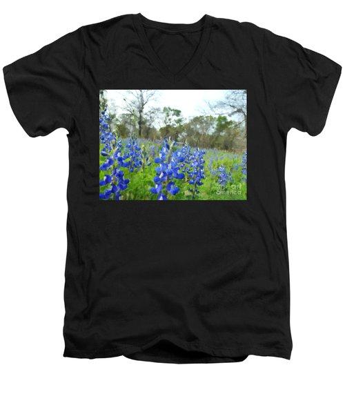 Blue Bonnet Explosion II Men's V-Neck T-Shirt by Carolina Liechtenstein