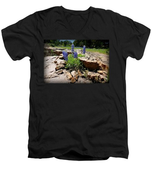 Blue Bonnets On The Rocks Men's V-Neck T-Shirt