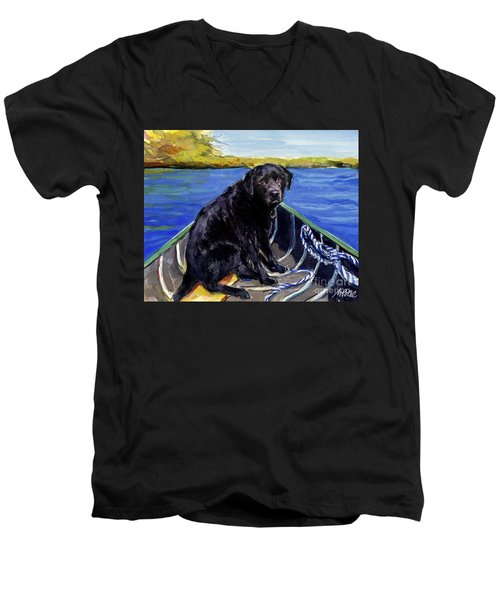 Men's V-Neck T-Shirt featuring the painting Blue Canoe by Molly Poole