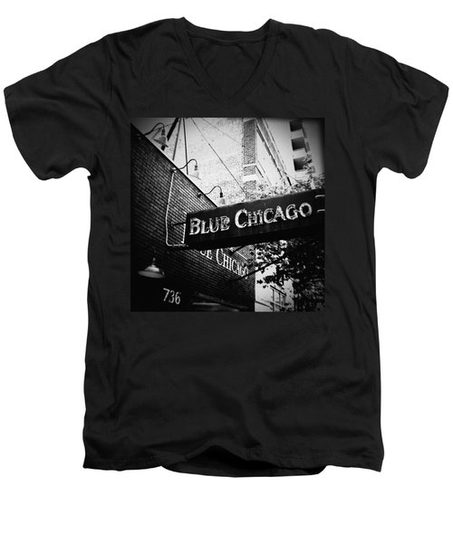 Blue Chicago Nightclub Men's V-Neck T-Shirt