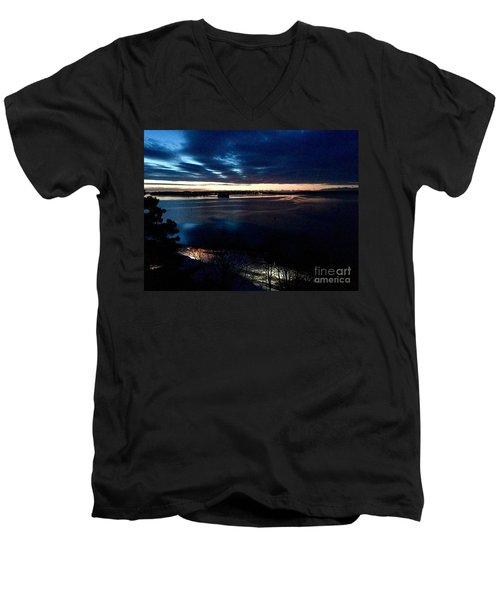 Blue Dawn On Casco Bay Men's V-Neck T-Shirt