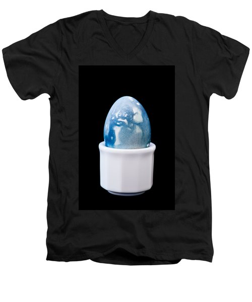 Men's V-Neck T-Shirt featuring the photograph Blue Egg by Ari Salmela