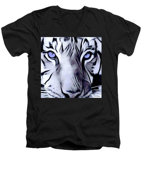 Blue Eyed Tiger Men's V-Neck T-Shirt