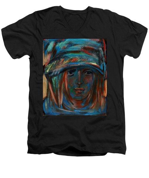 Blue Faced Girl Men's V-Neck T-Shirt
