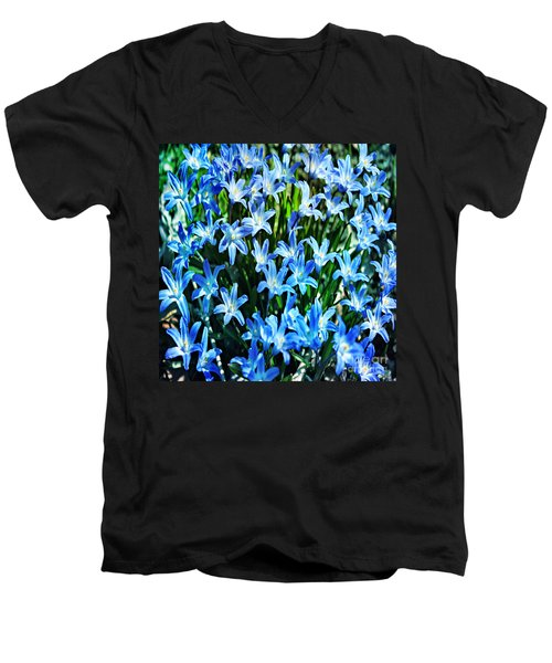 Blue Glory Snow Flowers  Men's V-Neck T-Shirt